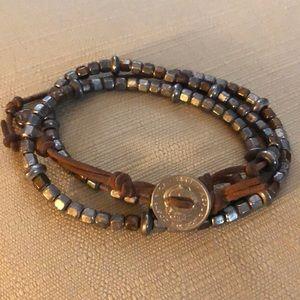 Boho genuine soft leather wrap bracelet